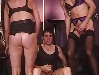 Retro shemale has wild fuck fest with some horny hunks