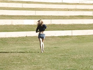 MaeLynn incredibly hot blonde flashing big natural tits and pussy in public and walking naked outdoors