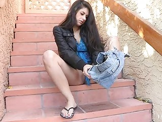 Lilly hot amateur brunette flashing tits flashing pussy and toying pussy outdoors