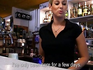 Czech barmaid will do anything for some cash in POV