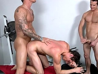 Ride Along dicks threesome gay muscle men in the gym