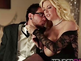 Pretty blonde babe Courtney Taylor titty fucking a big cock