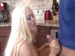 Naughty Mom With Big Tits Jerking The Young Cock