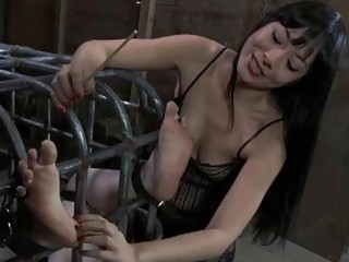 Beauty in latex dress gets cunt and anal prodding