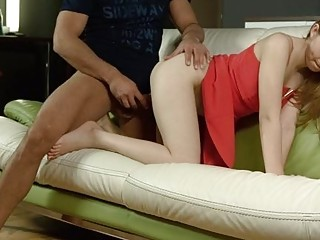 Virgin hottie takes it from behind doggy style on sofa