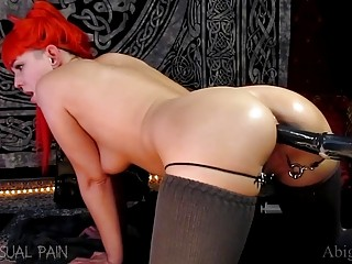 Kinky Redhead Taking Horse Dildo Deep in Her Pussy and Ass