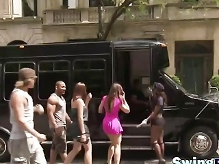 Horny swingers on a crazy dancing party on reality TV