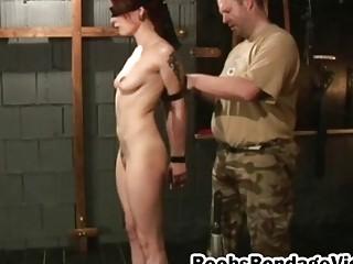 Brunette busty hottie tortured bonded dungeon