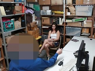 Teen shoplifter fucked by security while dad watches