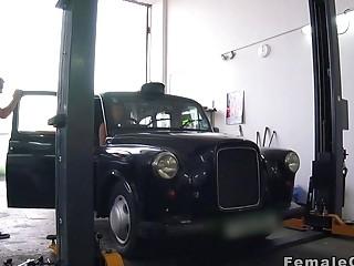 Auto mechanic fucks female cab driver in his shop