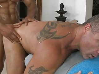 Black chap gets his slutty dick rubbed and stroked