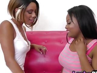 Skinny ebony happy pussy date with chubby lesbian girlfriend