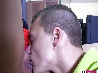 Horny bisexual couple gets a sex lesson from big dick guy