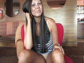 Tessa brunette babe flashing her pussy and boobs in public