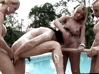 Wicked tbabes go for deep anal sandwich in foursome orgy