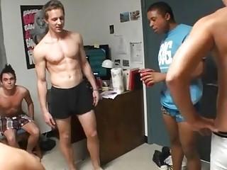 Homosexual studs arrange a group jerk off