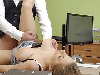 Office fuck session with a really hot brunette secretary babe