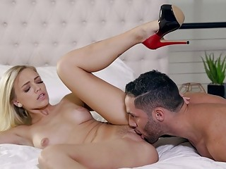 Blonde babe licked and fucked rough in her high heels
