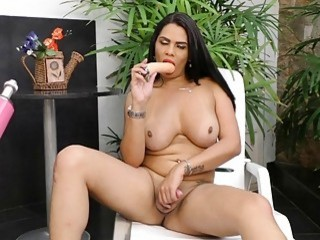 A Fucking Machine Pumps Sabrina Sousa in Her Tight Transsexual Asshole