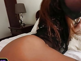 Fresh ladyboy with big tits sucking and jerking a dick