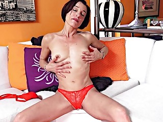 Old, mature and very skinny slut masturbates for the camera
