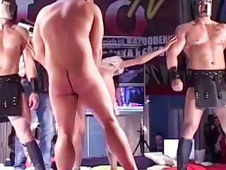 skinny girl rough fucked on public stage
