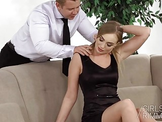 Gorgeous blonde anal railed after giving a blowjob and rimjob