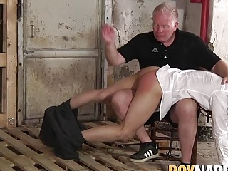 Sub twink spanked hard by deviant dom