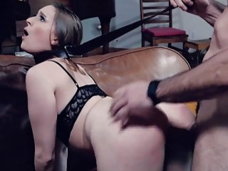 Teen is punished by her stepdad as she rides him